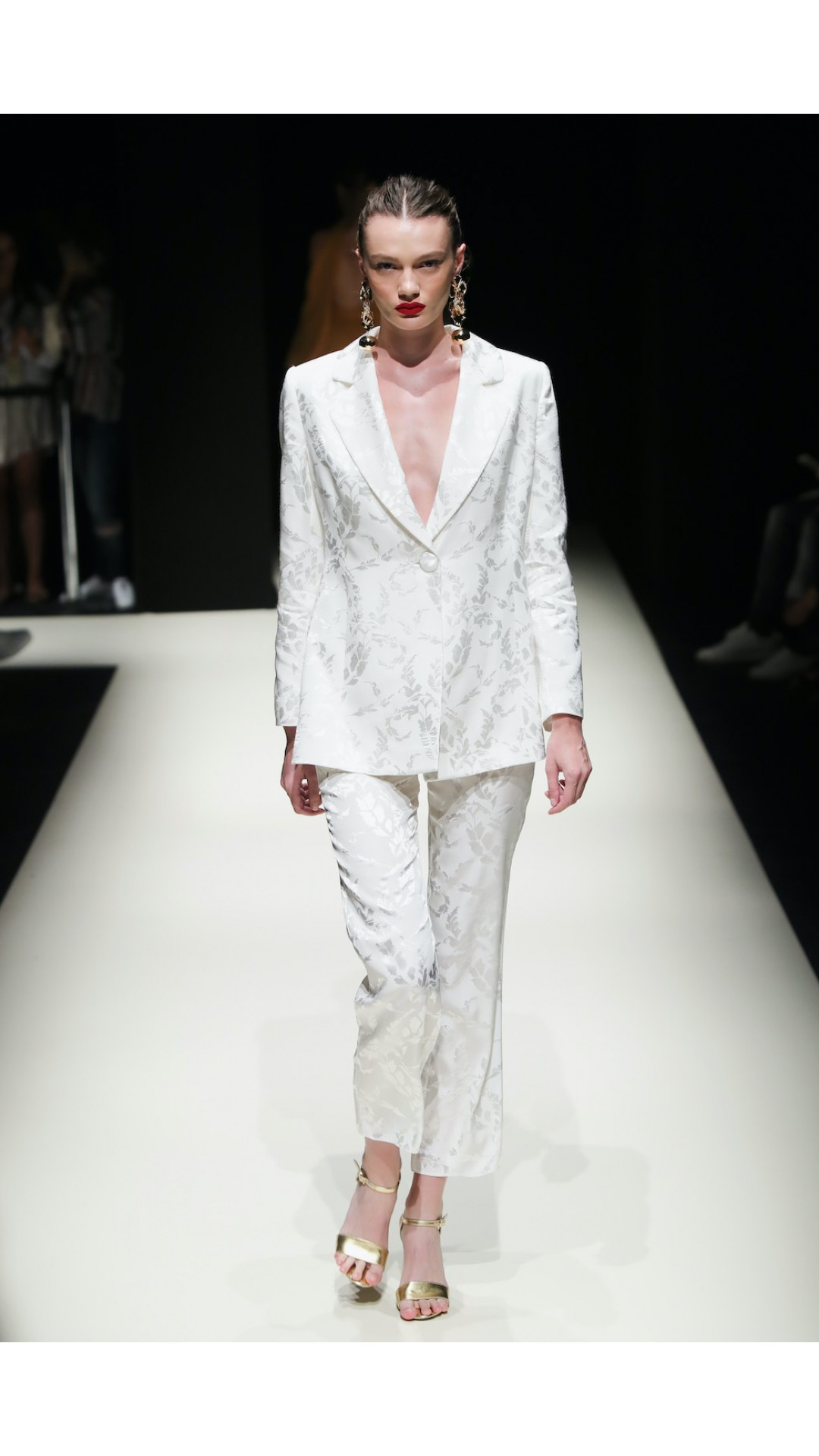 WHITE JACQUARD PANTS