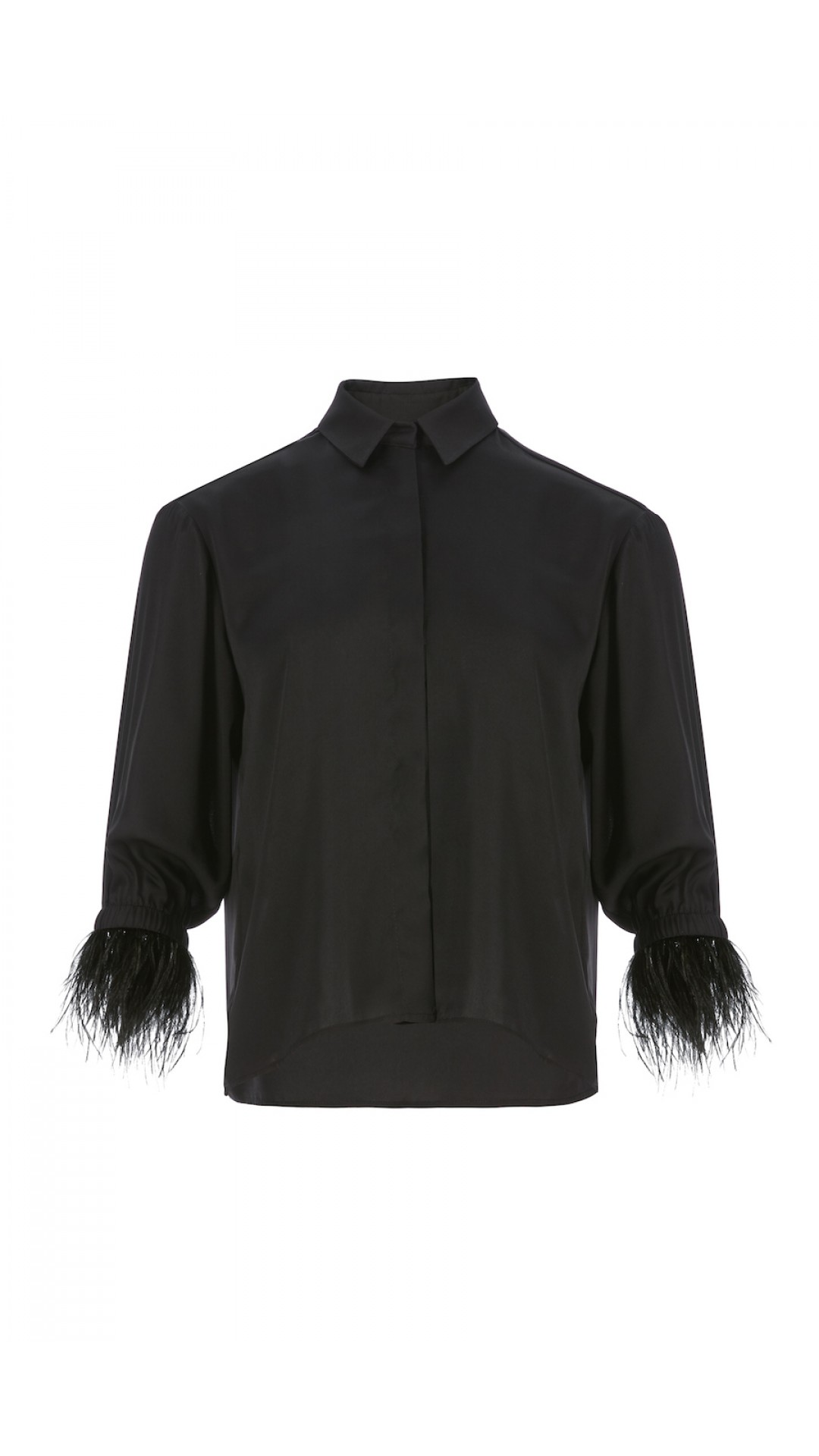 BLACK SHIRT WITH FEATHER DETAILS