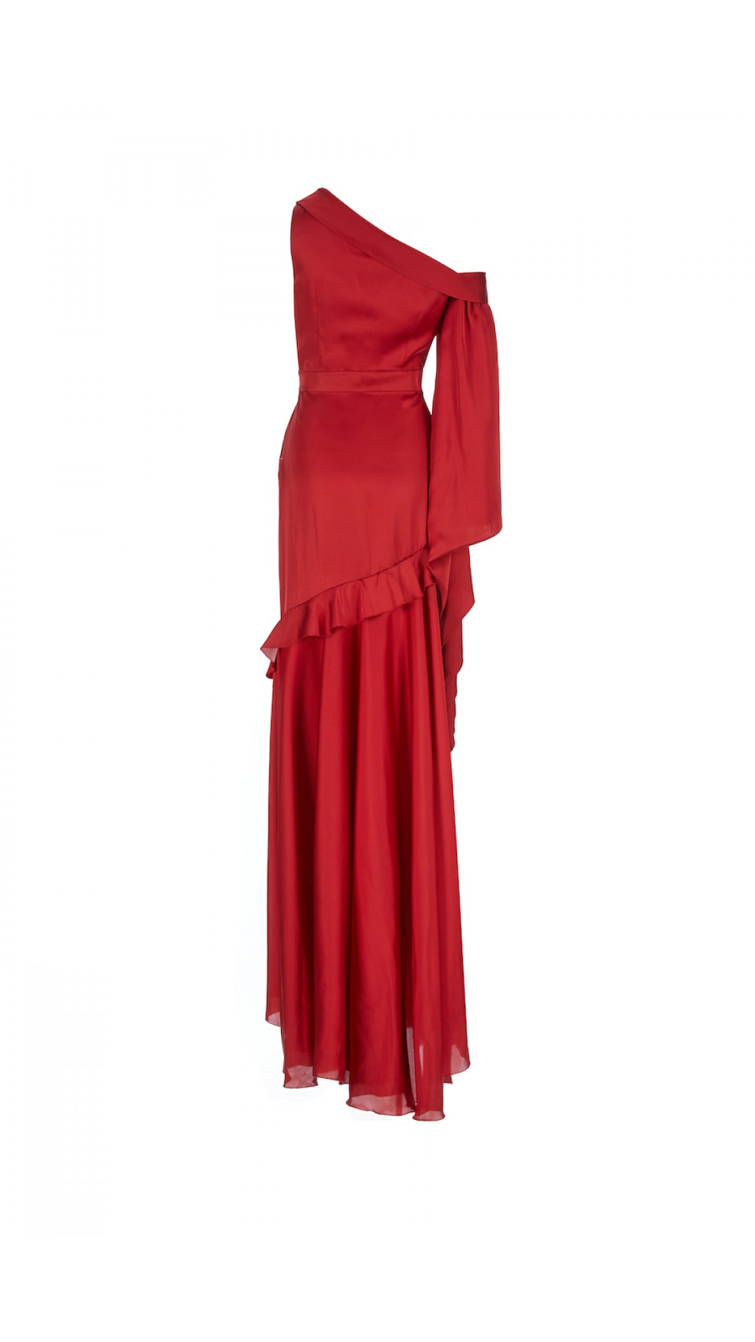 RED LONG DRESS WITH ONE ARM DETAIL