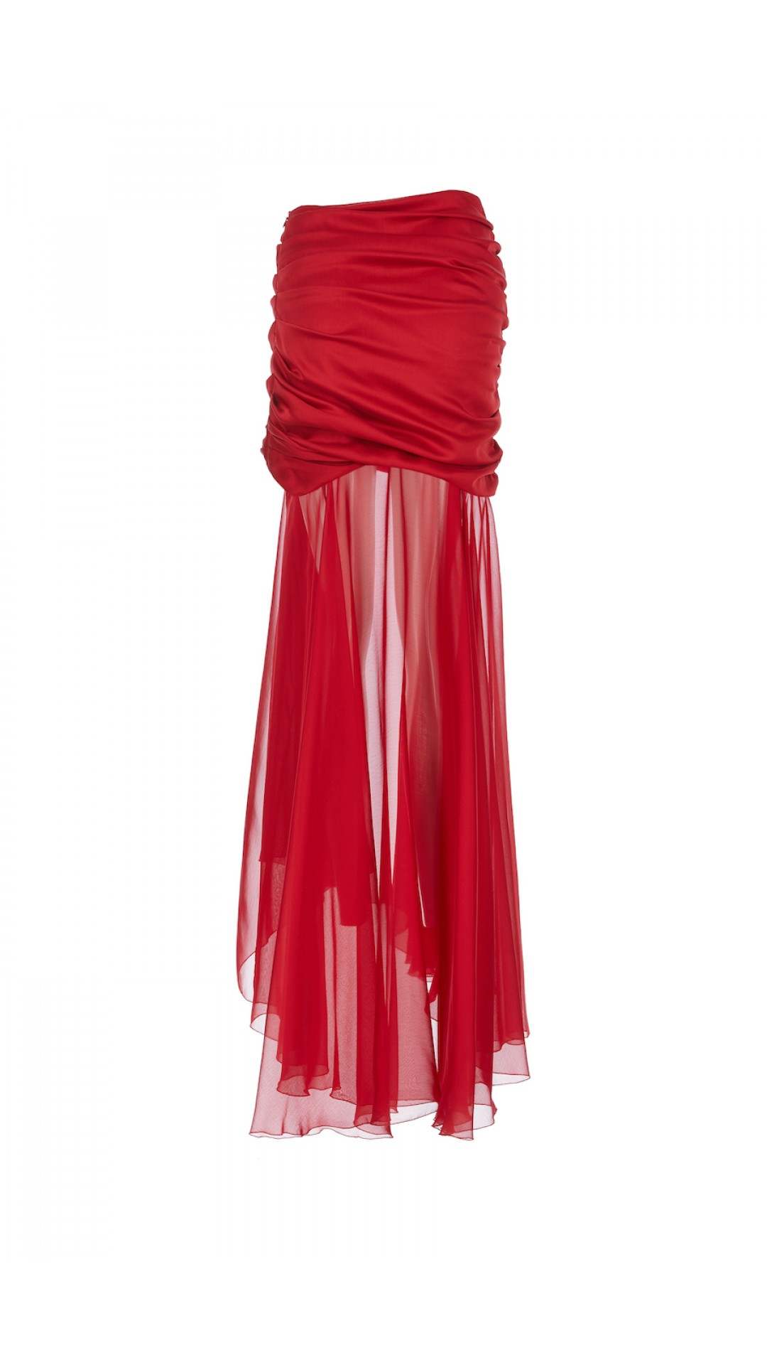RED SKIRT WITH CHIFFON DETAIL