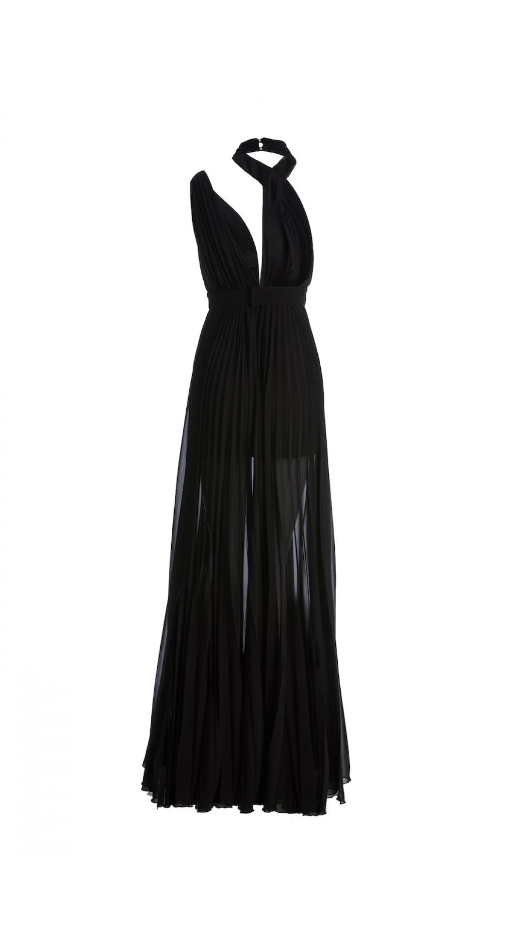 PLEATED BLACK NIGHT DRESS