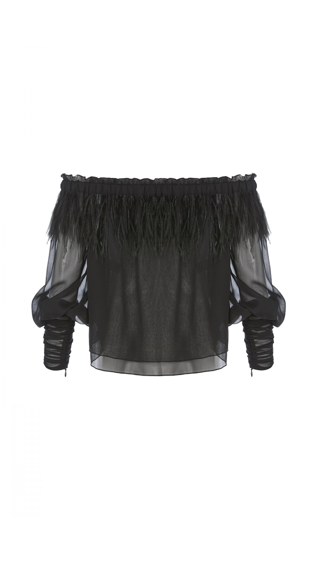 CHIFFON TOP WITH TULLE DETAILS