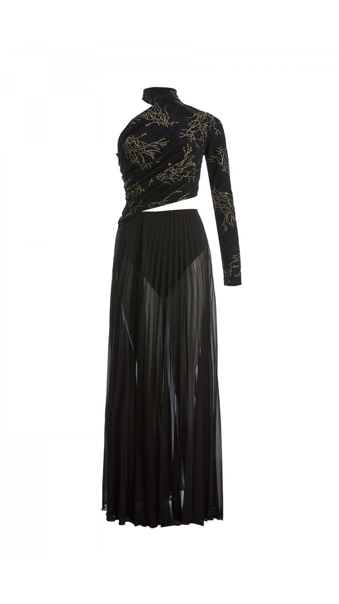 BLACK PLEATED DRESS WITH WEAVE DETAIL