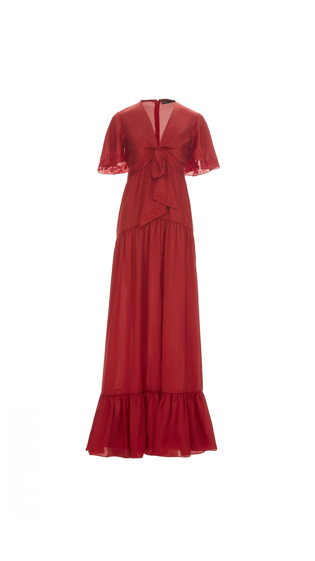 EMBROIDERED RED NIGHT DRESS