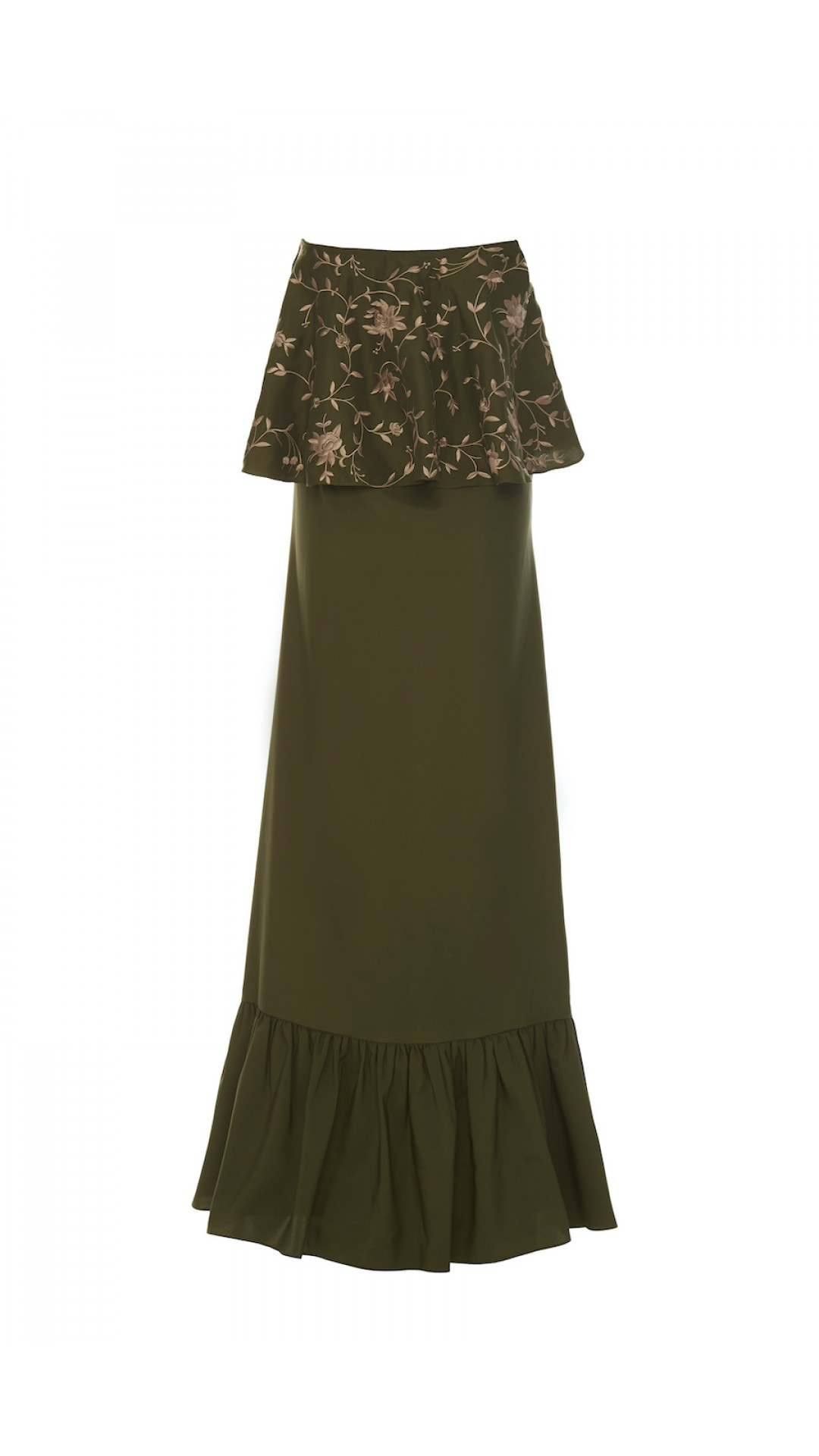 EMBROIDERED GREEN SATIN DRESS