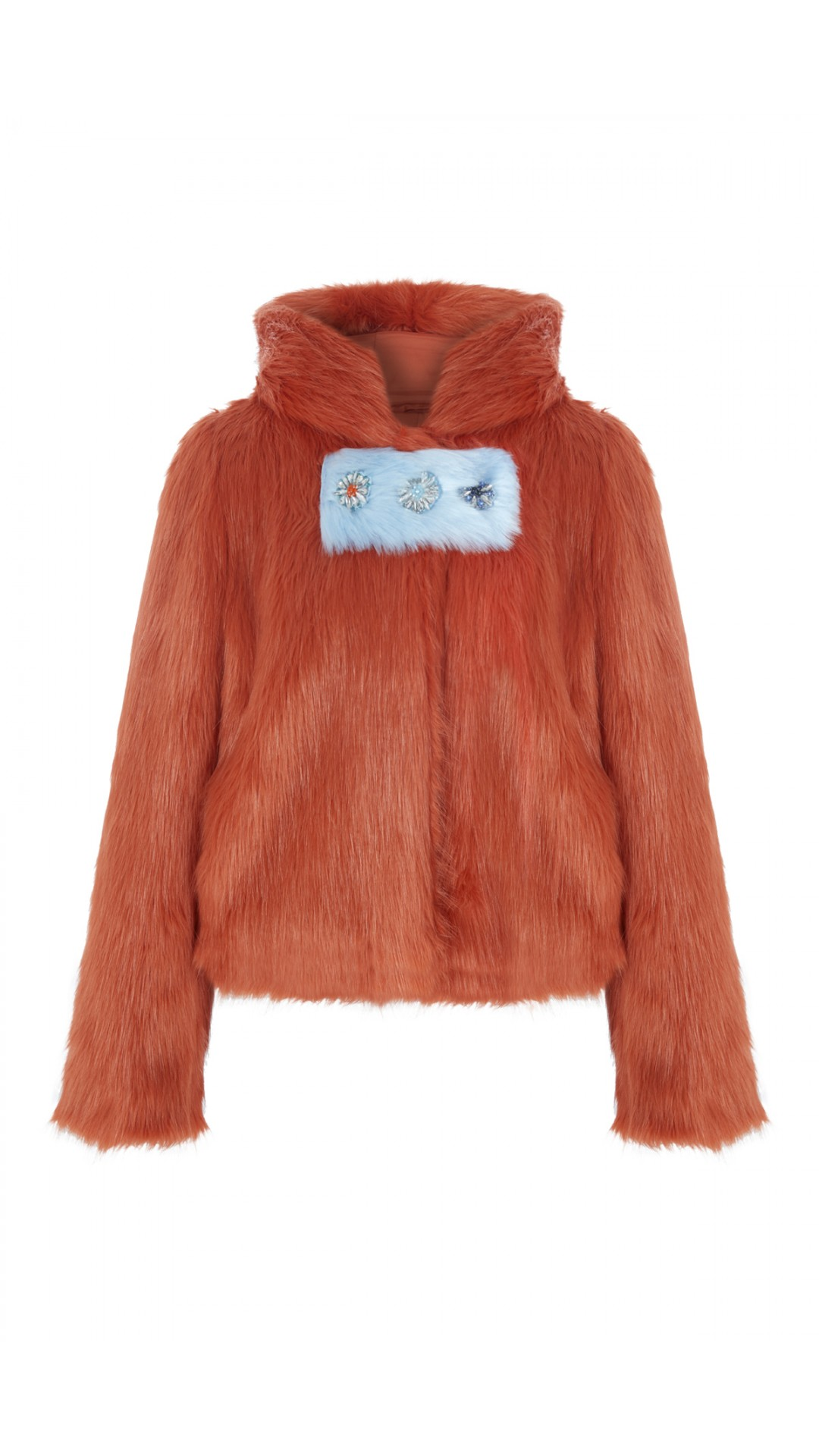 ORANGE FAUX FUR WITH EMBROIDERY