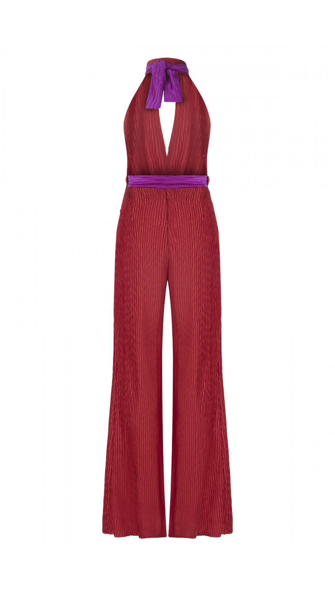PLEATED RED JUMPSUIT