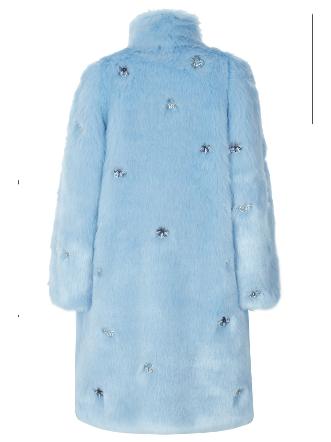 BLUE FAUX FUR WITH EMBROIDERY
