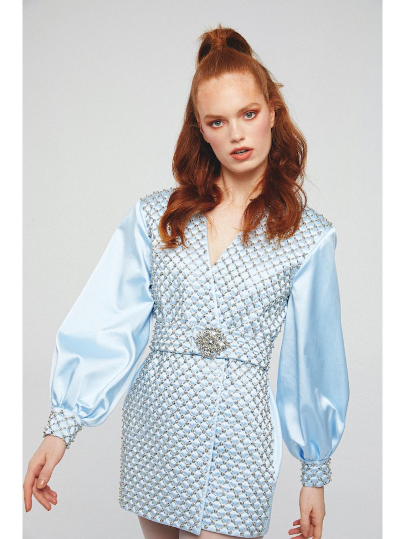 EMBROIDERED JACKET DRESS